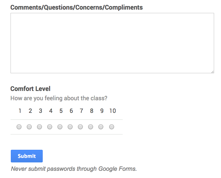 Google Forms to target students who are struggling.  Uses Sheets, Pivot table