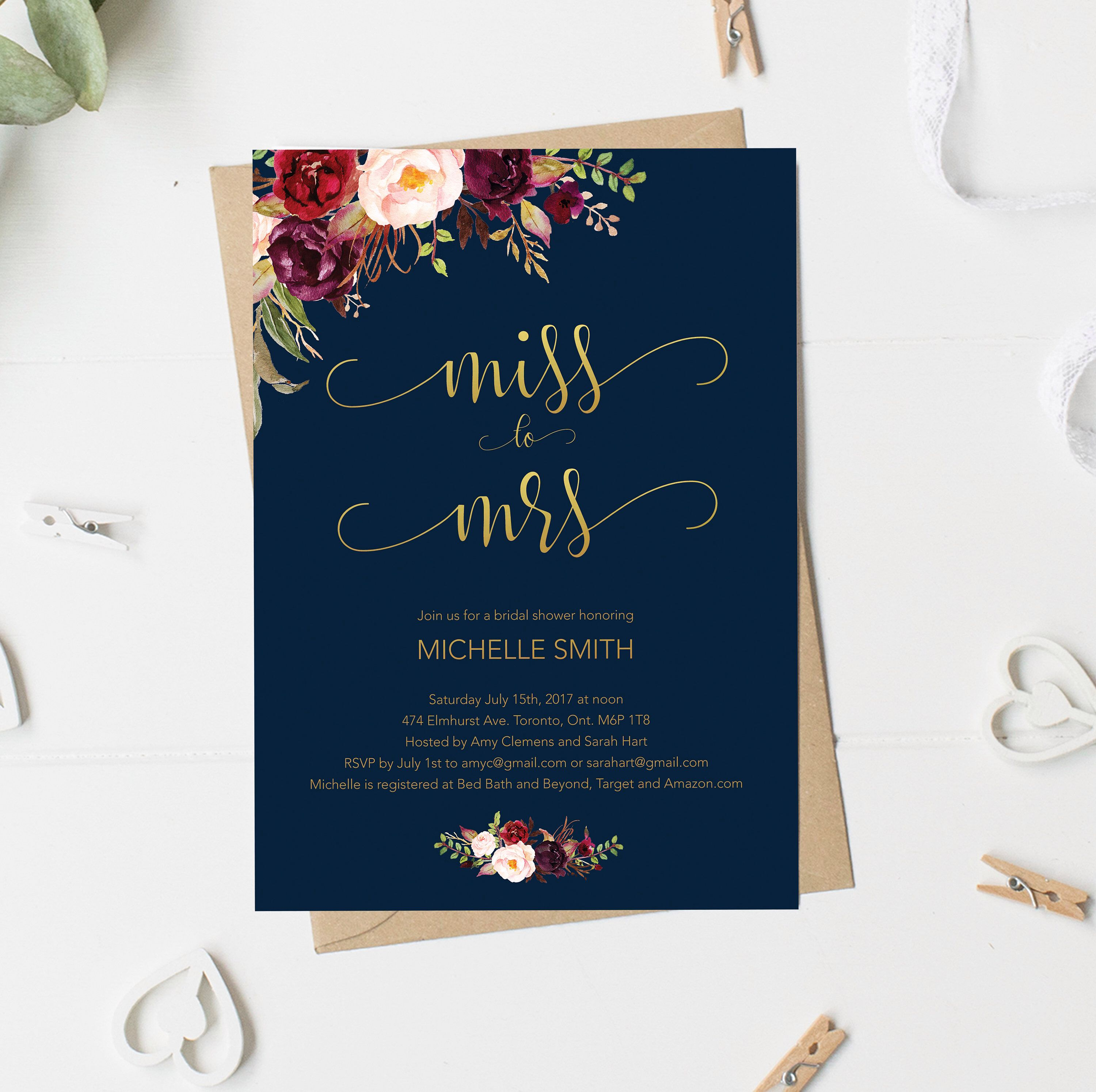 bridal shower invitation miss to mrs gold and navy fall bridal