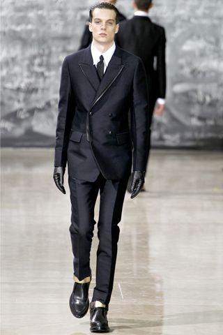 piped edges. Yves Saint Laurent Fall 2012 Menswear