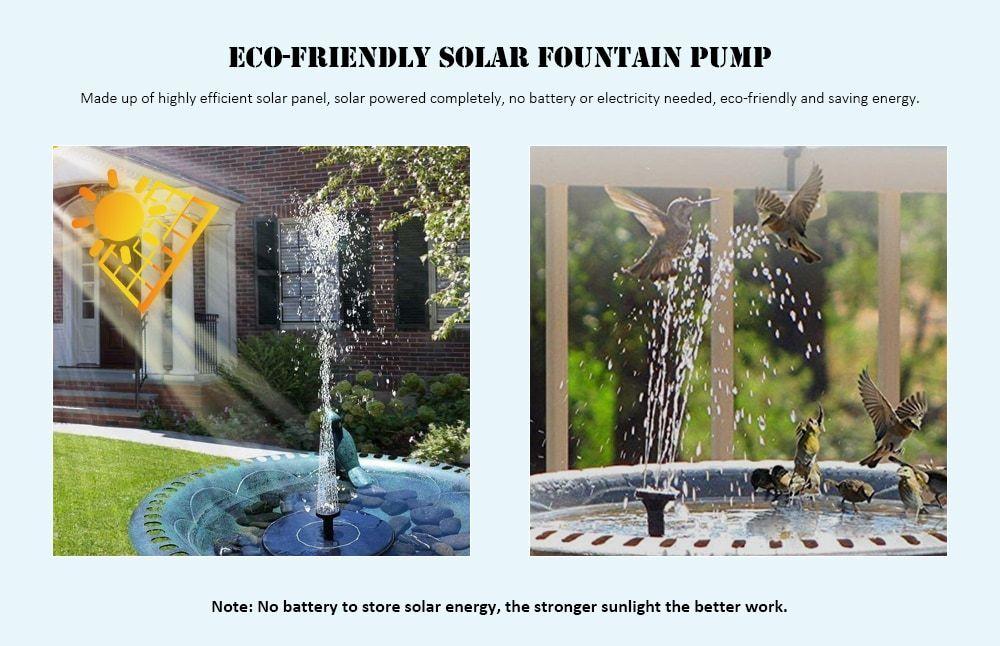Solar Floating Bath Fountain Pump For Garden And Patio 400 x 300