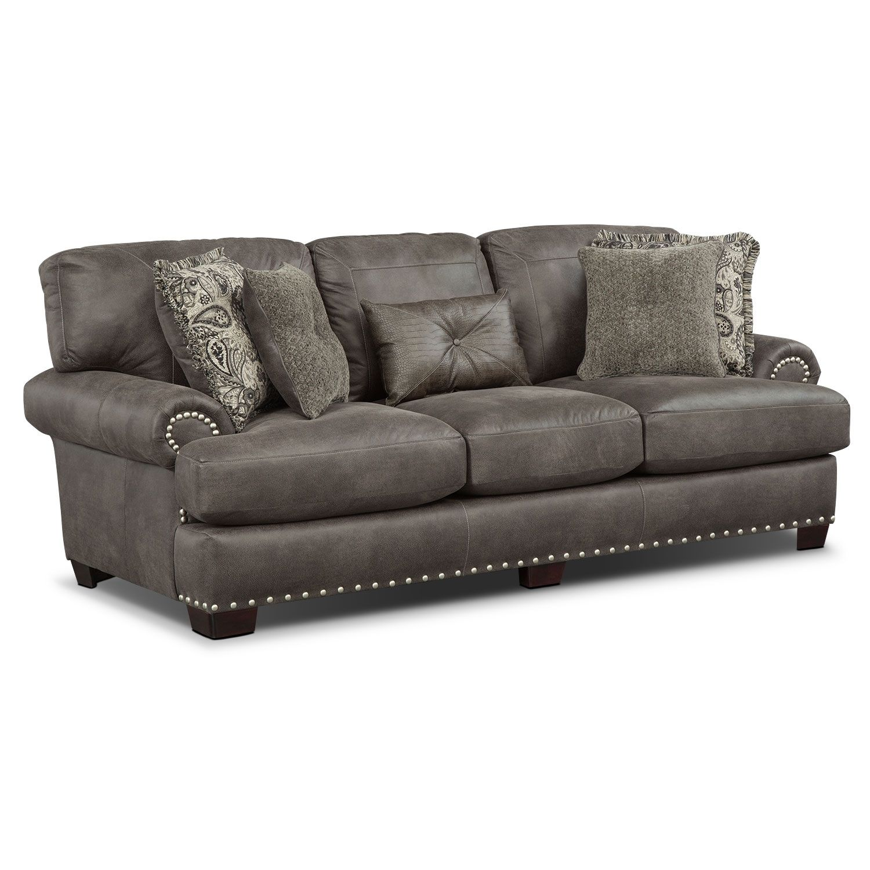 Grey Carleton Nailhead Sofa Rolf Benz Freistil 800 Living Room Furniture Burlington Steel