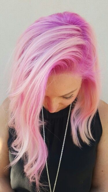 Pink shadow root with light pink ends. My favorite ...