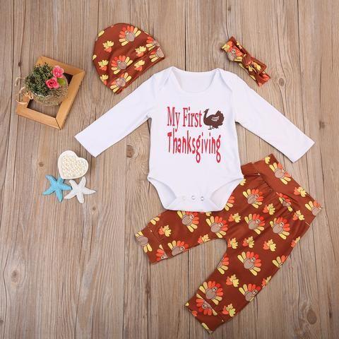 7af97d3d7 Thanksgiving 4PCS Set Infant Baby Boy Girl Outfits Cotton Romper ...