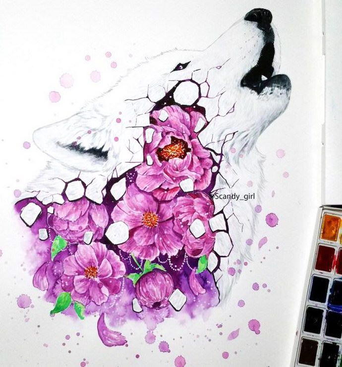 Watercolors Animals By Jonna Lamminaho Colorful Paintings With