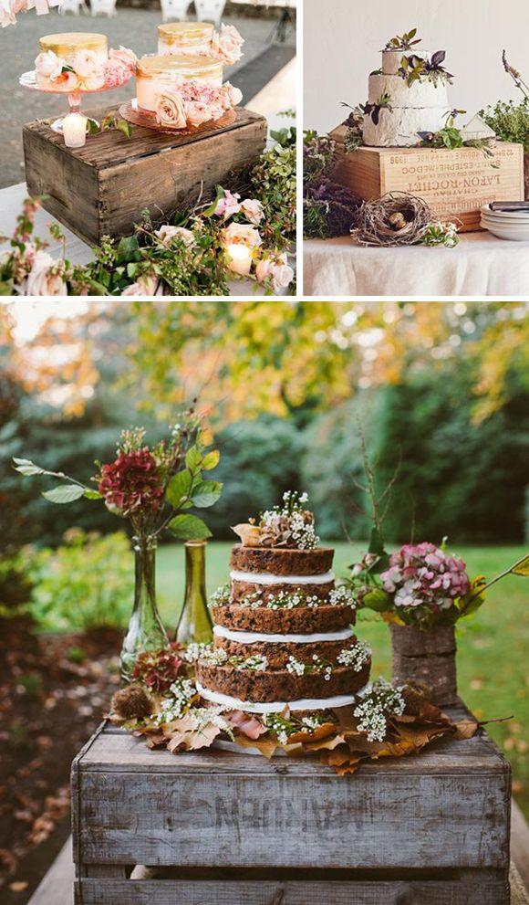 Cajas de madera en bodas tartas y mesas de dulces - Mesa de dulces para boda ...