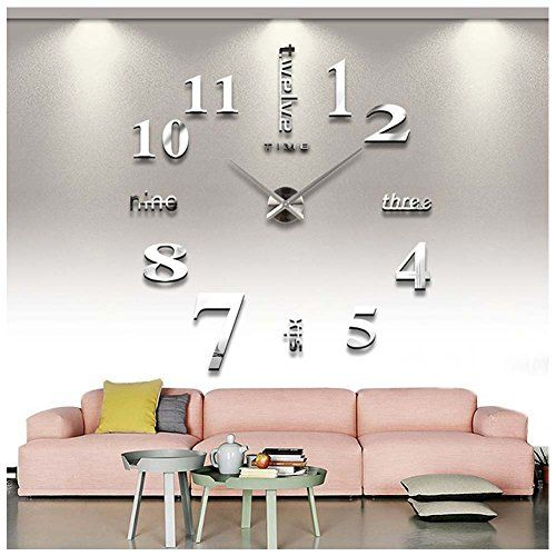 [Bed Frame DIY] Elegant Modern Frameless Large 3D DIY Wall Clock Kit  Decoration Home For Living Room Bedroom (contracted)    Read More Details  By Clicking ...