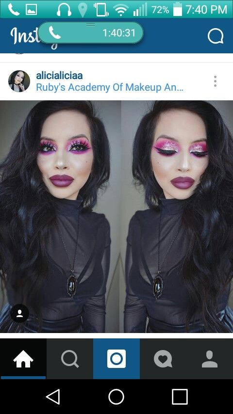 Monochromatic cranberry/magenta look with glitter Magenta, Makeup Looks, Make Up Looks