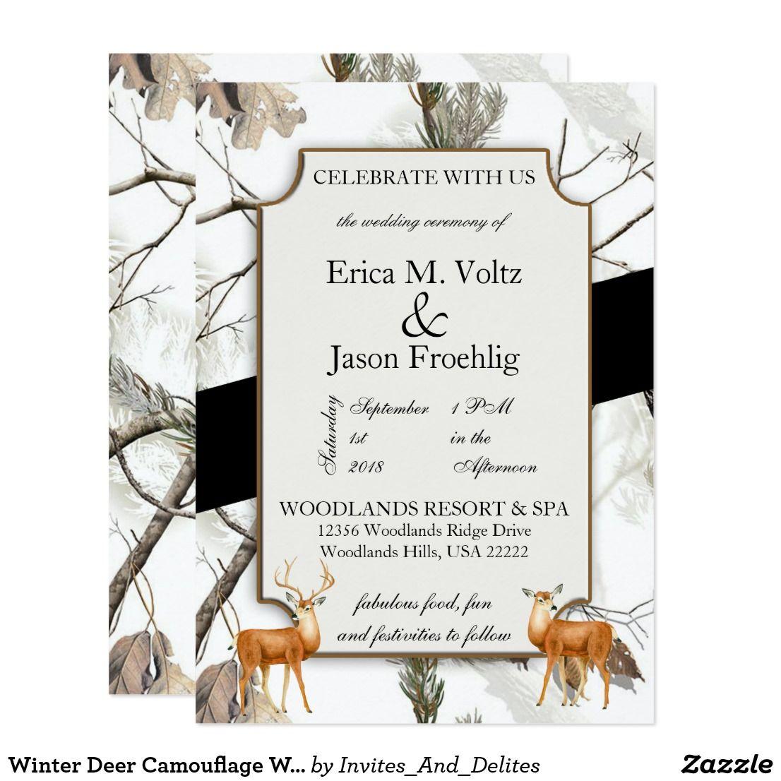 Winter Deer Camouflage Wedding Invitation  Weddings