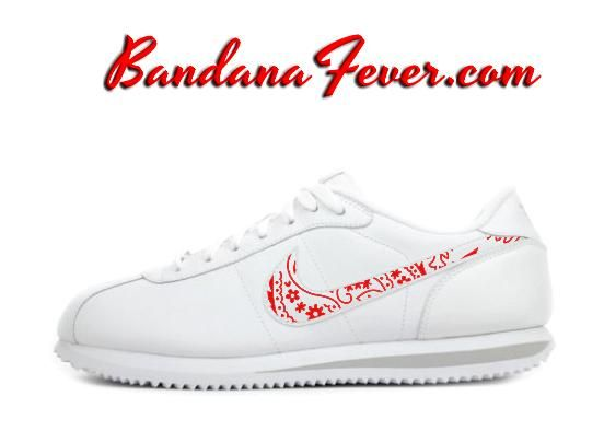 Custom Red Bandana Nike Cortez Leather White/Grey, paisley