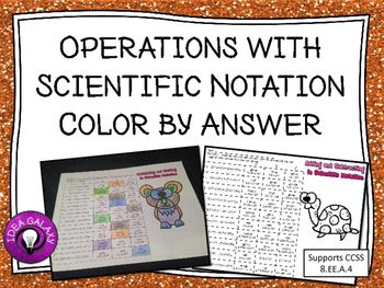 Operations with Scientific Notation Activity (Coloring Page ...