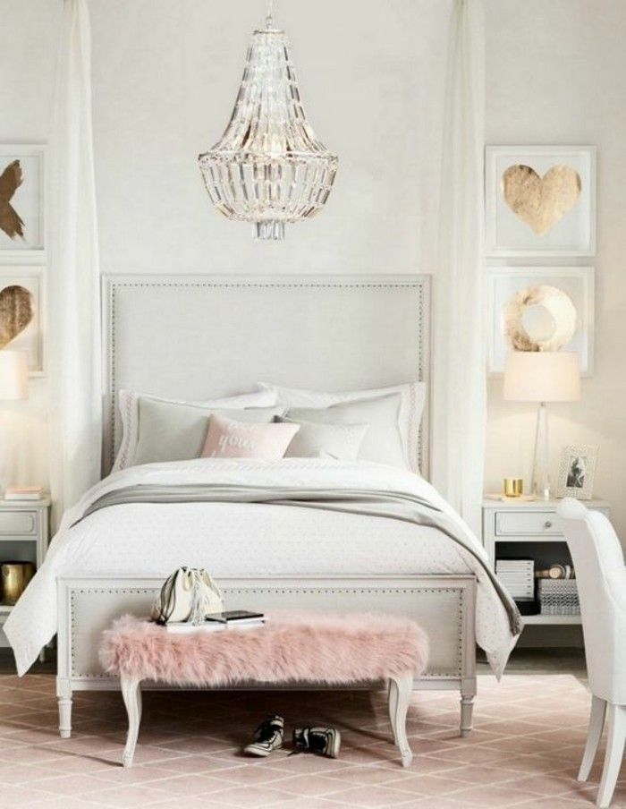 Schlafzimmer Ideen Kronleuchter Bett Rosa Hocker Bilder