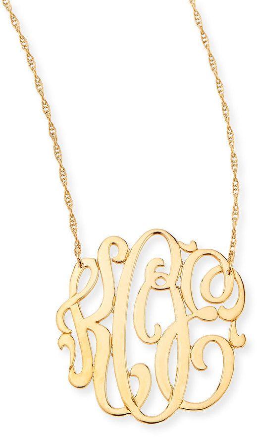 Jennifer Zeuner 18k Gold Vermeil Medium 3-Letter Monogram Necklace LVbNS1BakN