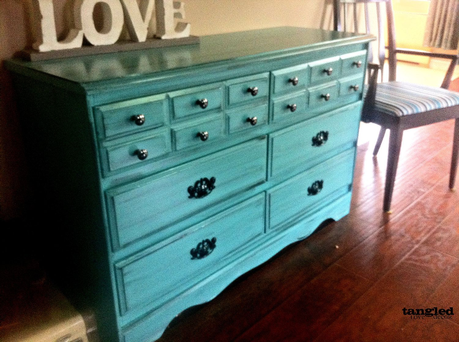 Turquoise Refinished Dresser With Black Antiquing Accents