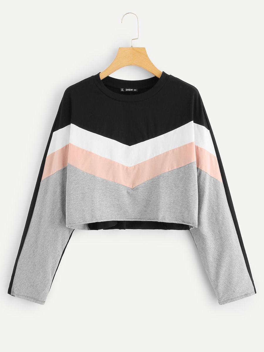 d23800471855 Cut and Sew Crop Sweatshirt -SheIn(Sheinside) | Tops I like in 2019 ...