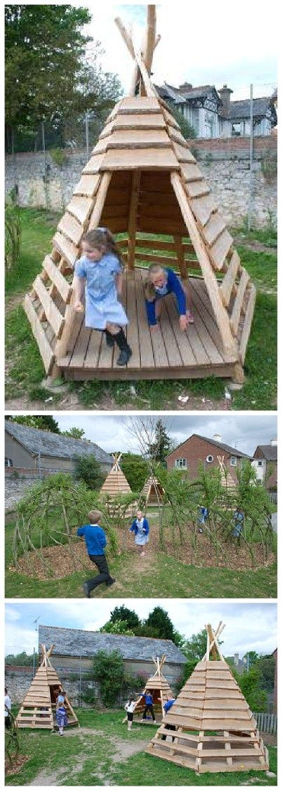 Diy pallet projects the best reclaimed wood upcycle ideas pallet projects diy outdoor teepee for a kids playground or the backyard do it yourself outdoor woodworking tutorial via 1001 pallets solutioingenieria Image collections