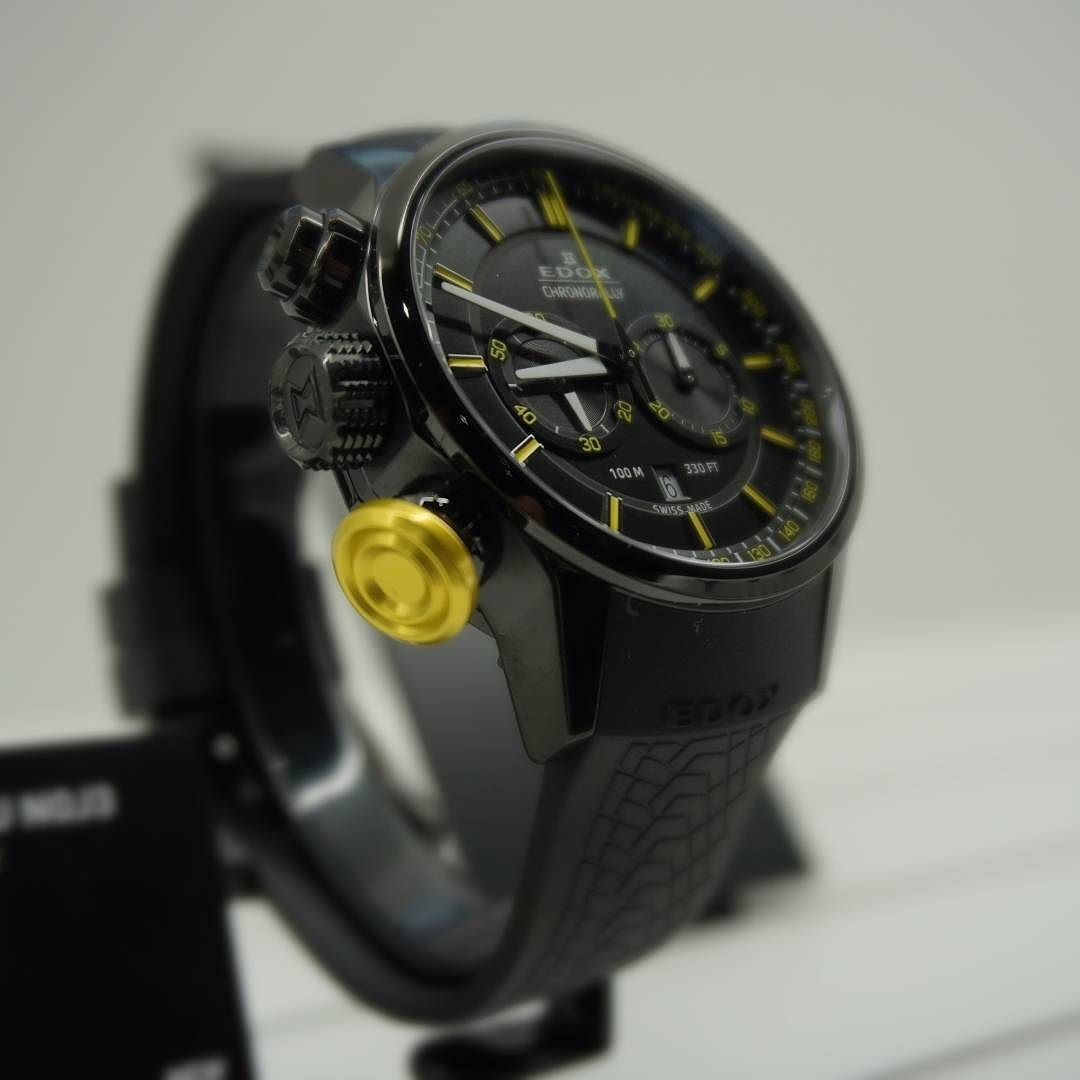 New Edox Chronorally with new colors and dial available in May 2106 #edox #edoxswisswatches #swissmade #swisswatches #edoxonthewrist #wotd #timingforchampions #watchmania  #chronorally #black #yellow #chronograph #racing #rally #prokop