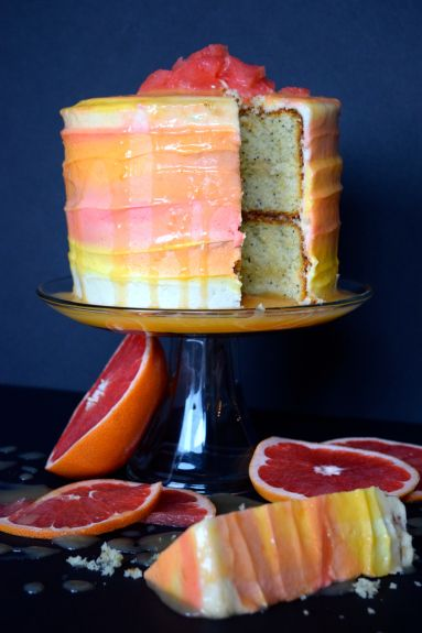 Grapefruit Watercolor Cake