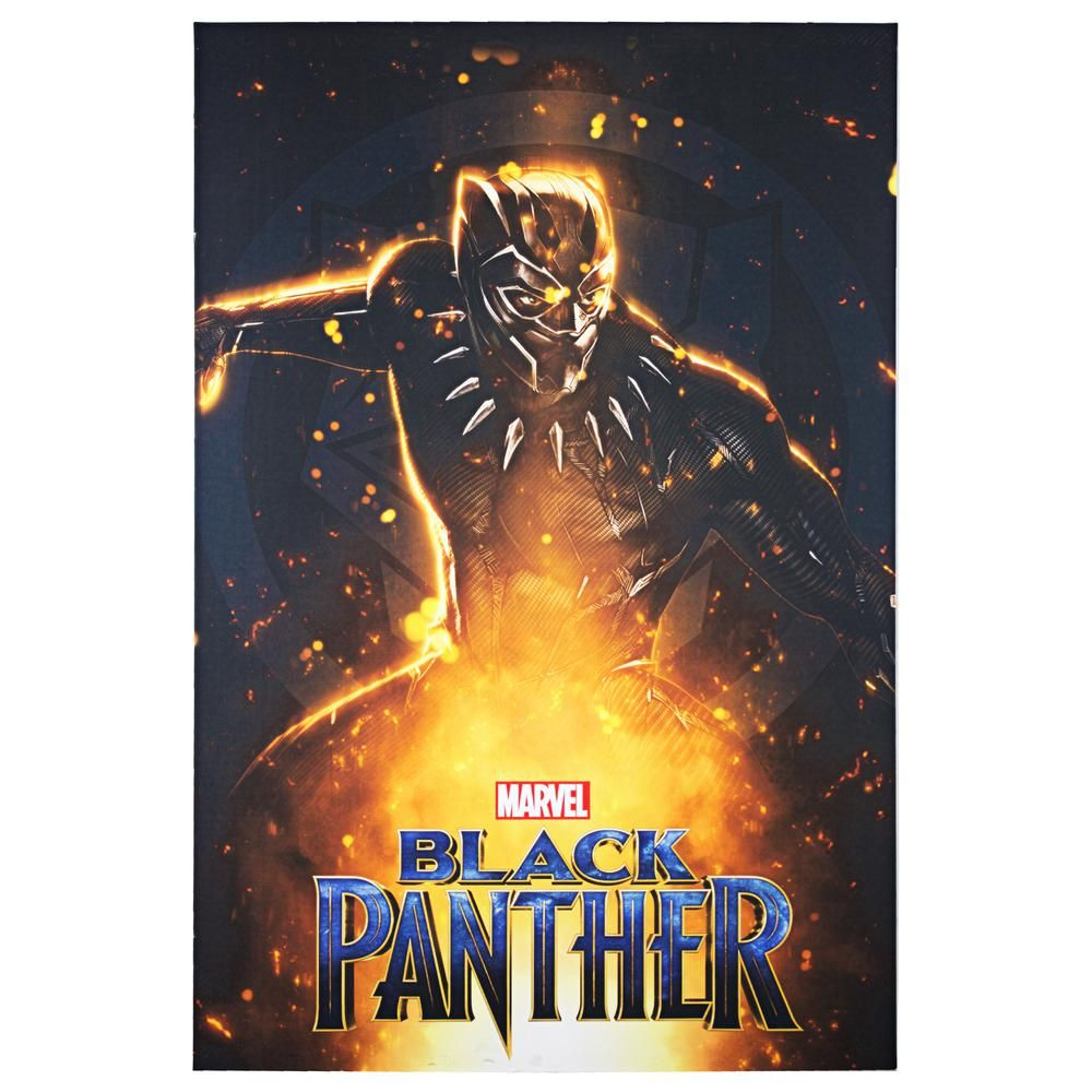 American Art Decor Licensed Marvel Comics Black Panther Movie Poster Wrapped Canvas Wall Art Multicolored Black Panther Movie Poster American Art Black Panther