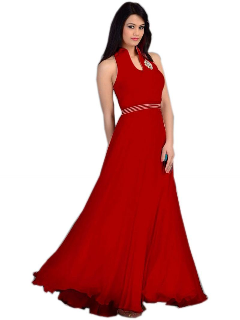 Designer Long Red Party wear Gown. #baljit_kaur_hyderabad | Baljit ...
