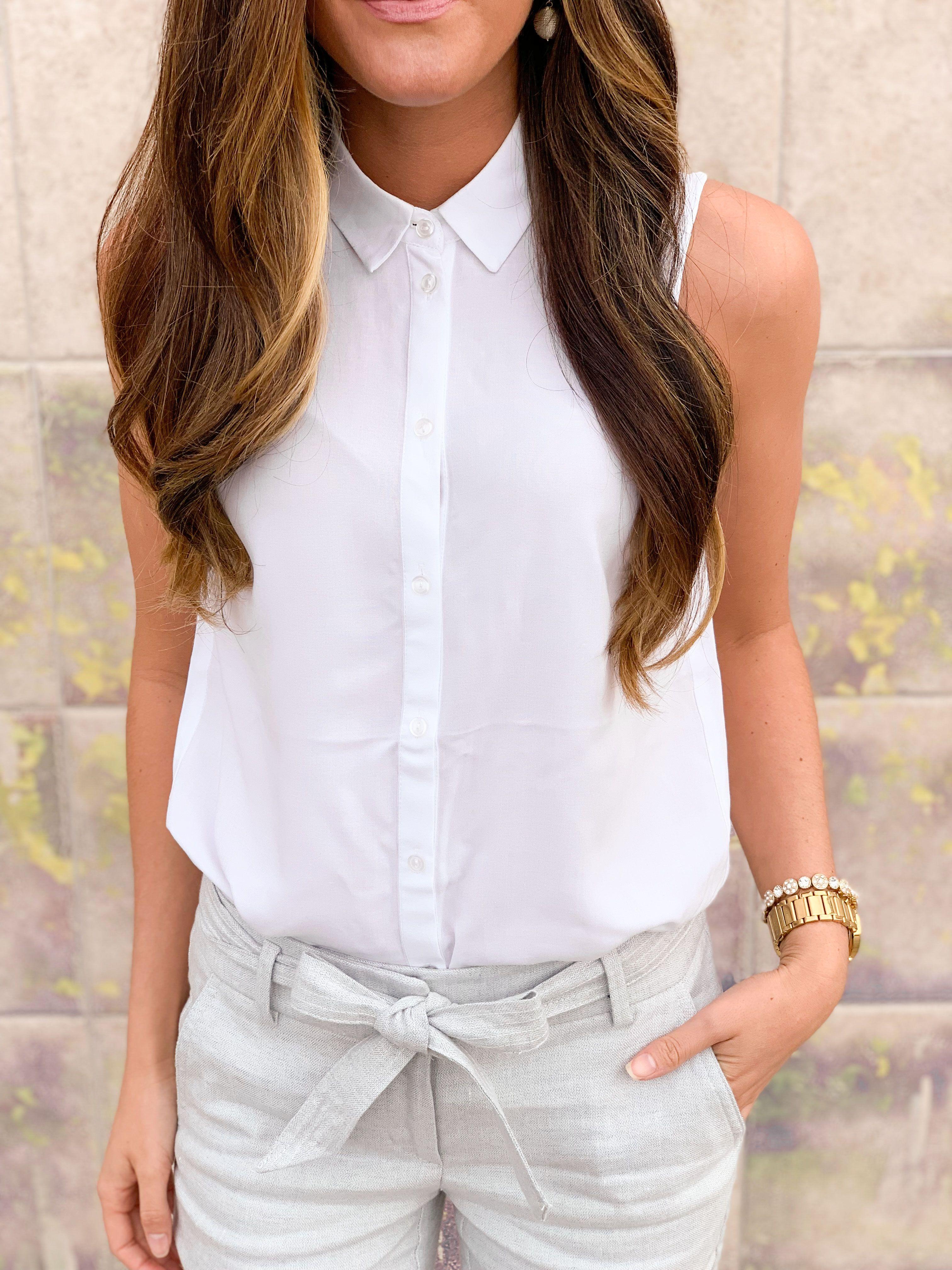 Sleeveless Button Down Womens Business Casual Womens Trendy Dresses Womens Dress Pants [ 4032 x 3024 Pixel ]