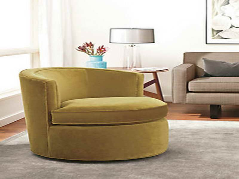 Merveilleux Oversized Round Swivel Chair Slipcover Modern Living Room