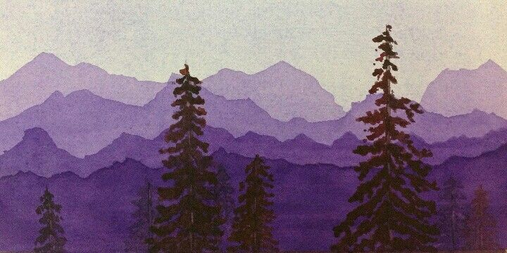 Mountain Range Mural With Trees Watercolor Mountains Purple
