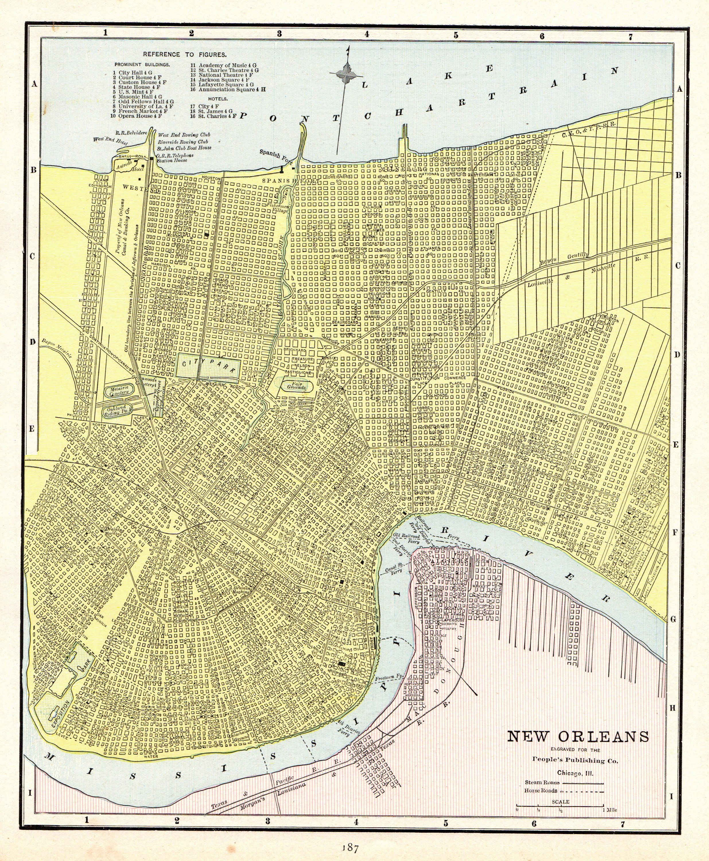 1888 Antique NEW ORLEANS Map Vintage Map of New Orleans Louisiana
