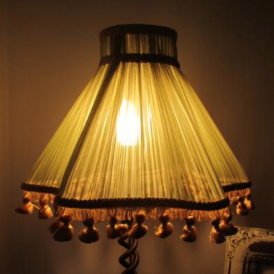 Vintage green chiffon lampshade