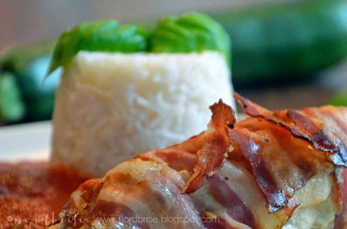 wrapped chicken with zucchini and bacon...