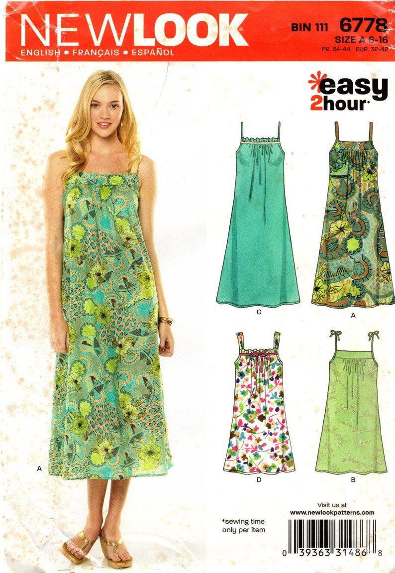 6778 Misses Easy Spaghetti Strap Summer Dress Uncut New Look Etsy Tunic Tops Pattern Summer Dresses Halter Top Dresses [ 1151 x 794 Pixel ]