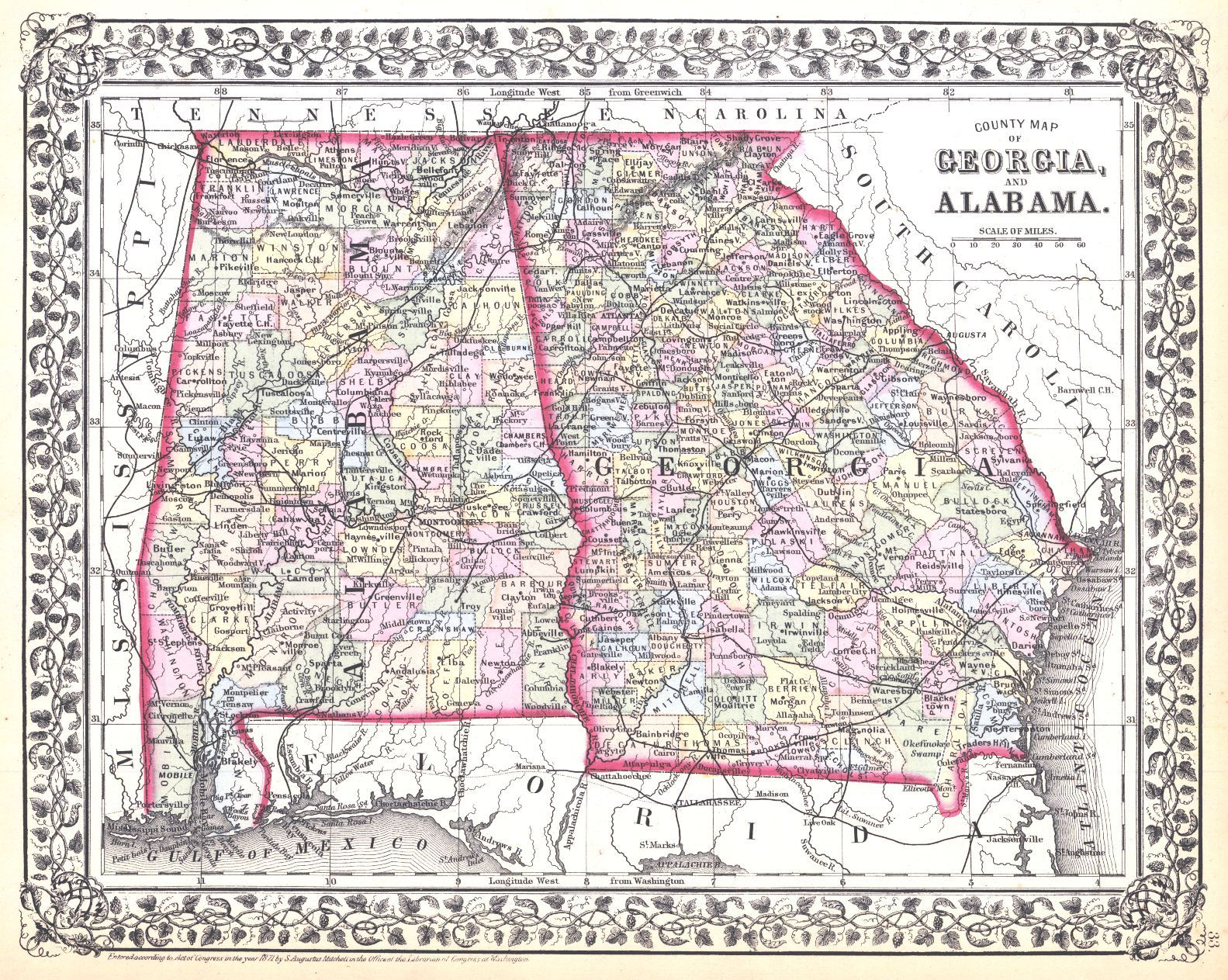 County Map of Georgia and Alabama. Mitc, S.A., Jr ... on ga map, murray county georgia map, georgia map with county lines, haralson county georgia map, georgia map usa, cobb county georgia map, georgia highway map, georgia county map by zip code, georgia economy map, georgia business map, georgia county map printable, georgia town map, georgia cities, georgia regions, georgia capitals map, atlanta map, georgia and russia map, georgia lakes map, georgia states map, georgia indian trails map,