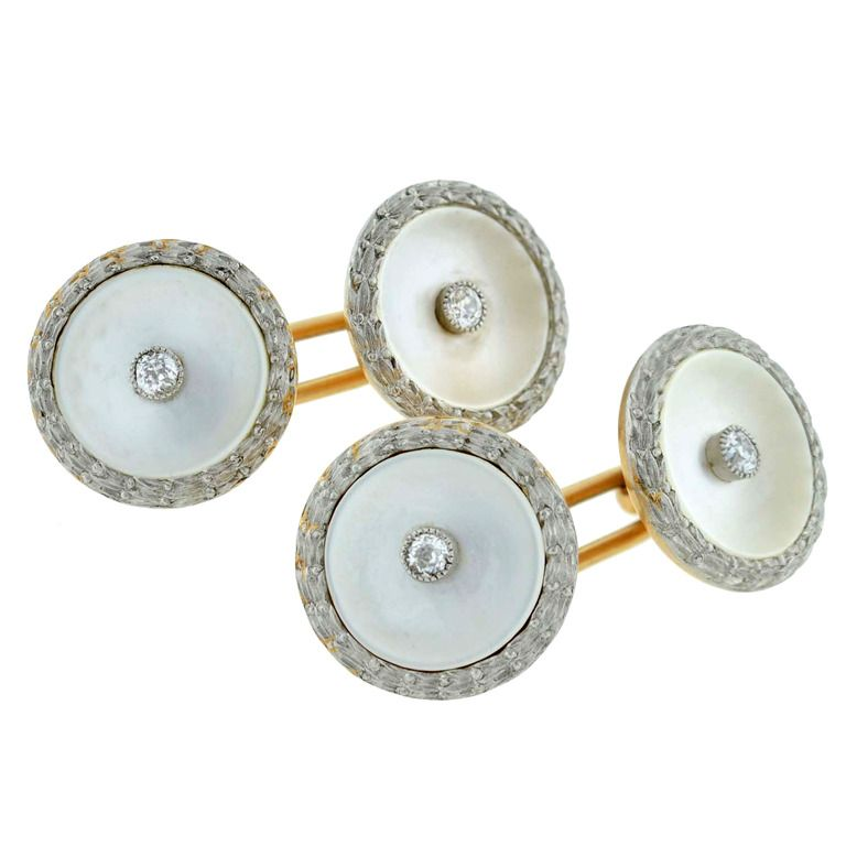 Mother Of Pearl And Diamond Cufflinks