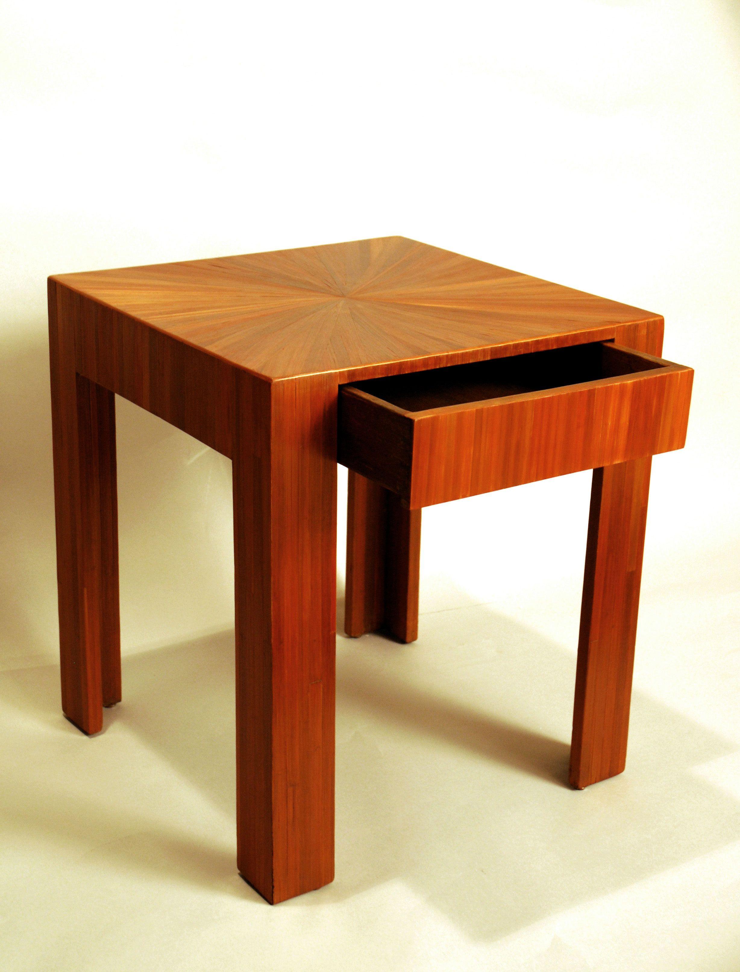 Table Basse En Marqueterie De Paille Rousse A Un Tiroir En Ceinture Mobilier De Salon Art Deco