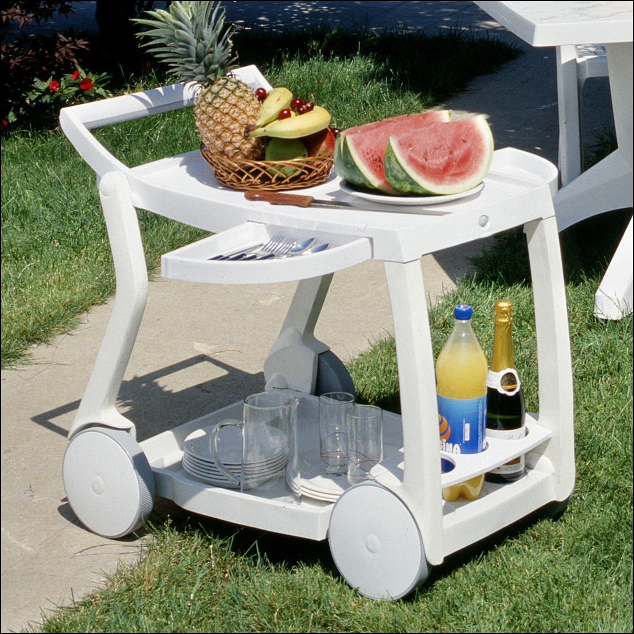 Lovely Patio Serving Carts On Wheels
