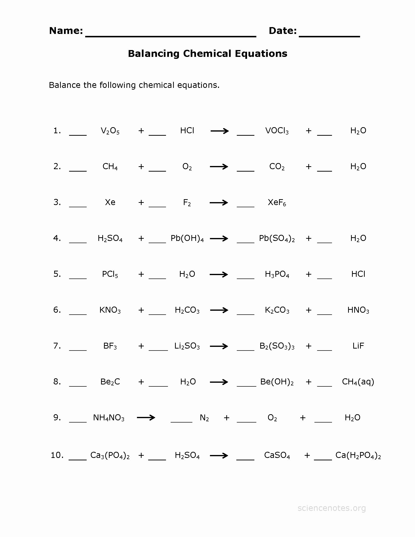 Balancing Equations Worksheet Answers Awesome Balancing