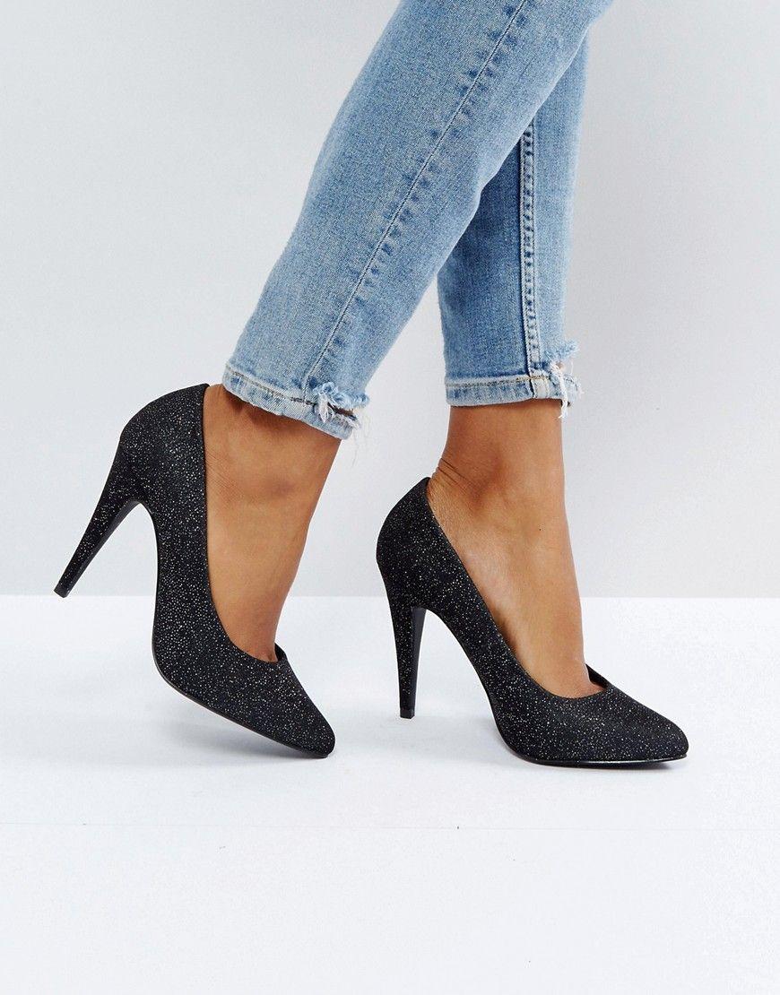 Glitter Cone Heel Court Shoe - Silver New Look ACV8UrHl