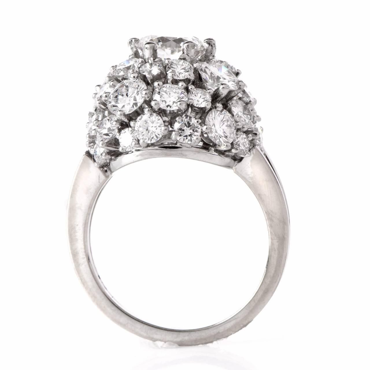 Diamond Gold Cluster Engagement Ring