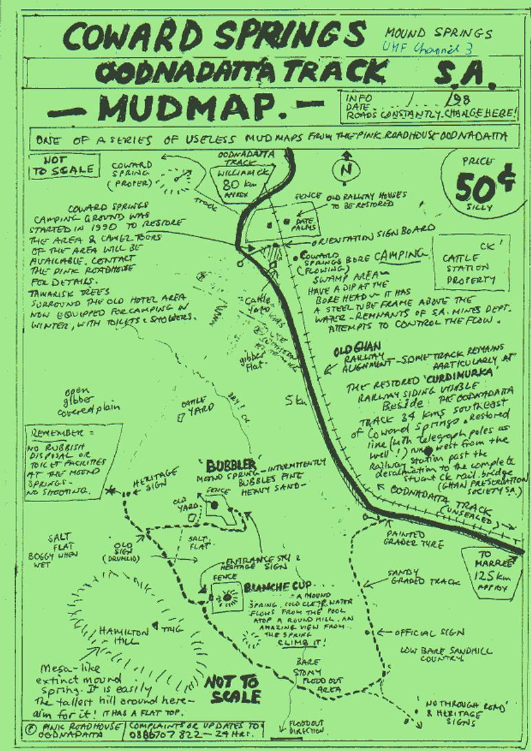A 'mud-map' picked up at The Pink Roadhouse at Oodnadatta, showing the local area - which is so remote that there are no other maps with this detail available.