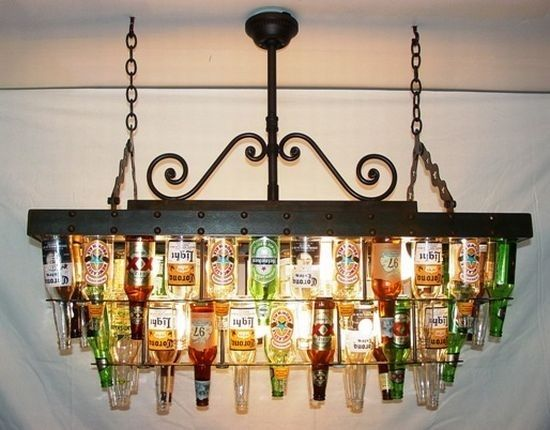 Beer Bottle Chandeliers Make a beer bottle chandelier for above a home bar by valerie make a beer bottle chandelier for above a home bar by valerie audiocablefo