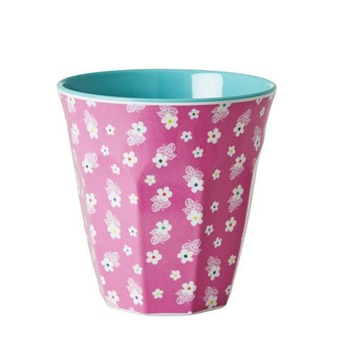 Rice Melamine Pink Flower Print Cup - Nettle Green