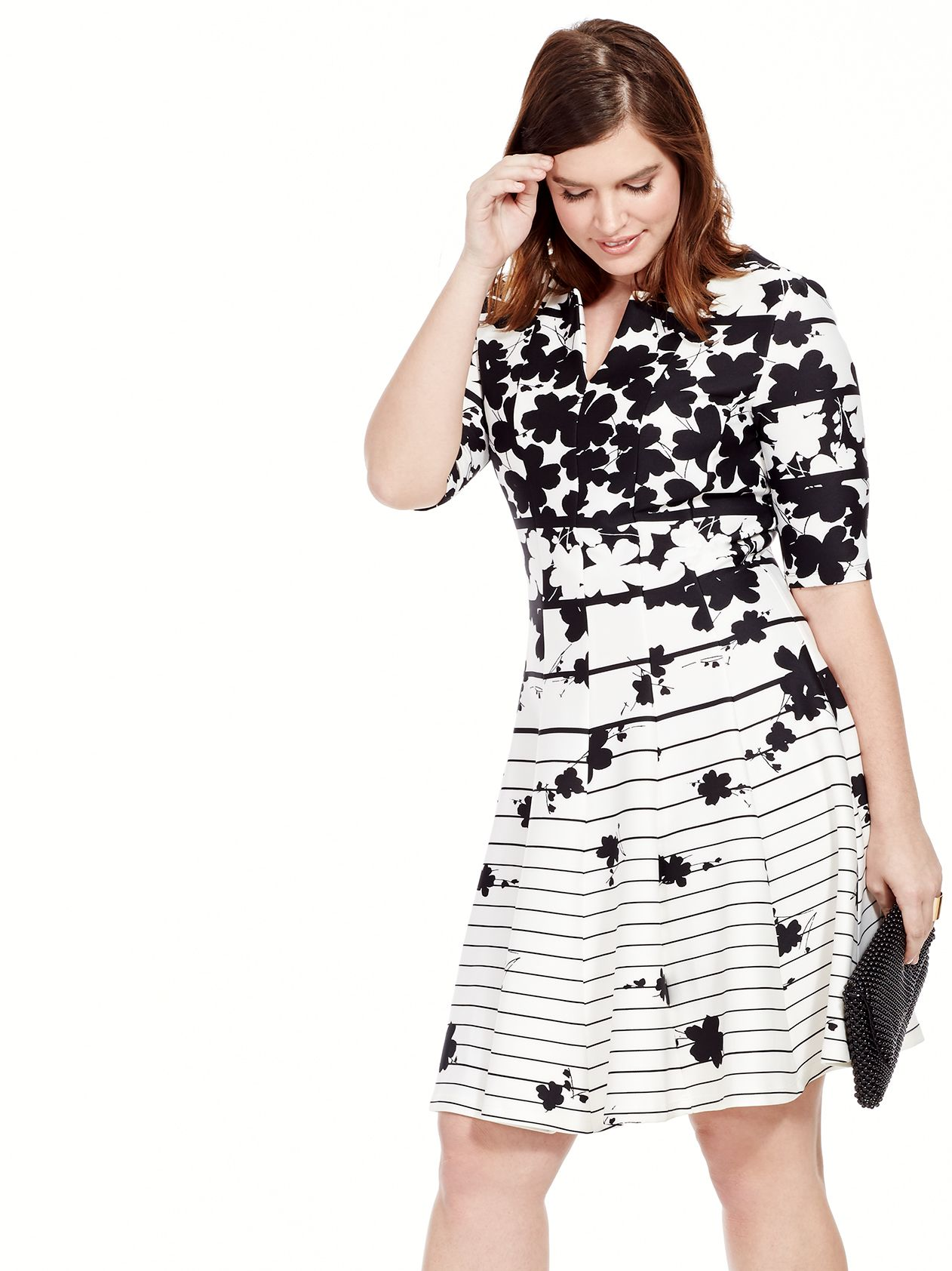 Black & White Dress In Mixed Print  by Julian Taylor  Available in sizes 10/12 and 14W-24W