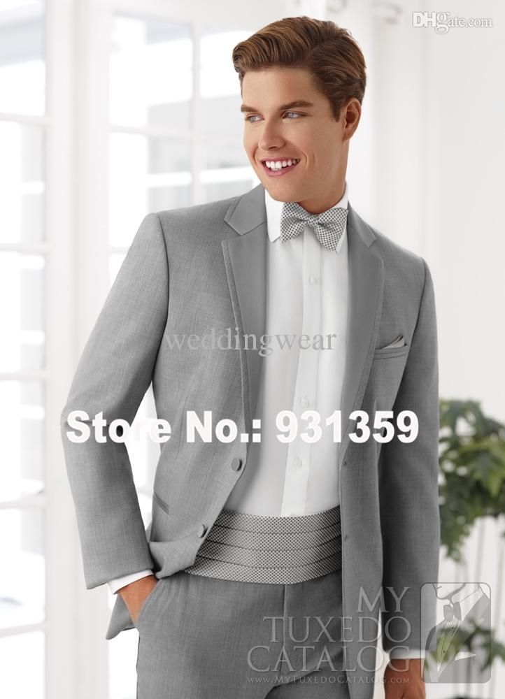wholesale-high quality gray wool custom made tuxedos wedding suits design 4 peices (jacket+pants+tie+vest) shx80104 2015 new groom…