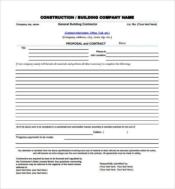 Construction Proposal Template business template Pinterest - work contract template