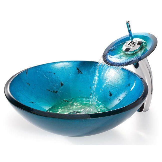 Round Blue Tempered Gl Vessel Bathroom Sink