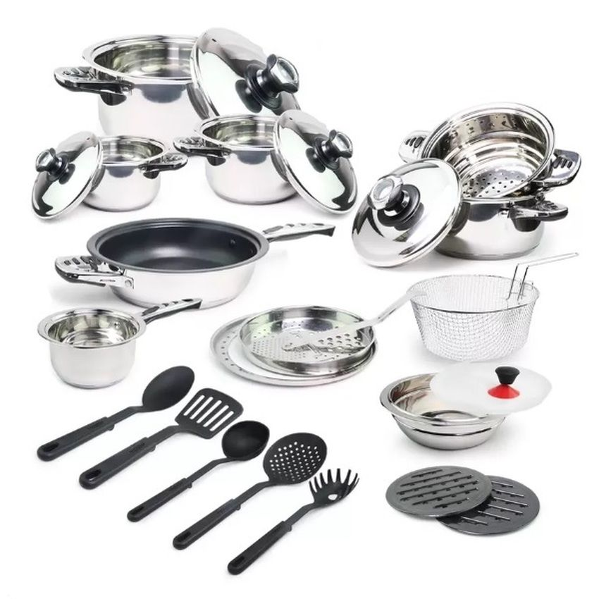 Larosso Stainless Steel Cookware Kitchen Set Of 25 Stainless