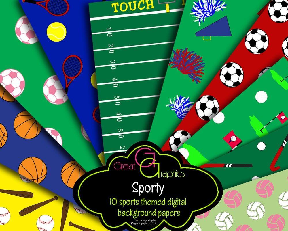 Sports Digital Backgrounds, baseball, basketball, football ...