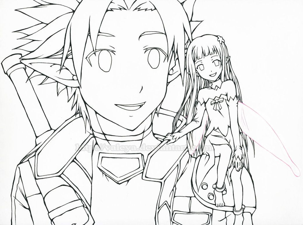 On online coloring and drawing - Sword Art Online Kirito Coloring Page