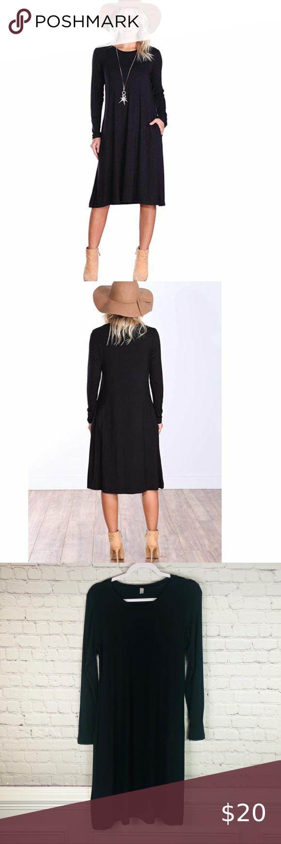 Popana Black Long Sleeve Swing Dress With Pockets Long Sleeve Swing Dress Womens Trendy Dresses Sleeved Swing Dress [ 1740 x 580 Pixel ]