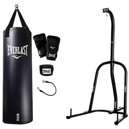 Everlast Single Station Heavy Bag Stand With Mma Kit Value Bundle Black