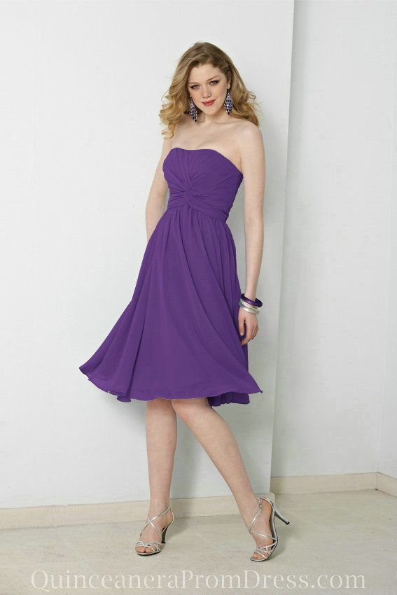 Clothing Chiffon Strapless Bateau Empire Pleated Knee Length Purple Formal Dress For Wedding